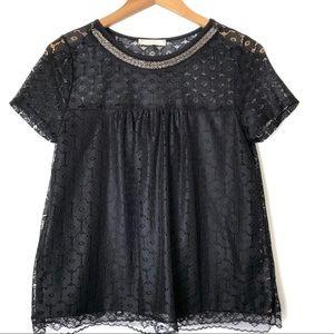 Black Lace top beaded collared Juniors M
